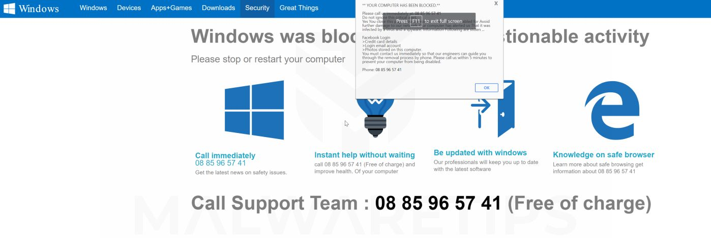 Windows was blocked due to questionable activity Pop-up Scam