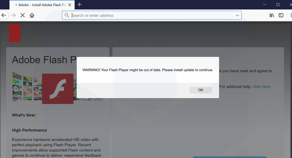 Your Flash Player could be out of date Pop-up Scam