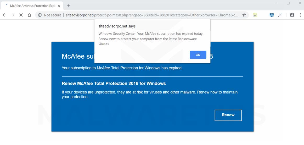 Windows Security Center Pop-up Scam Virus