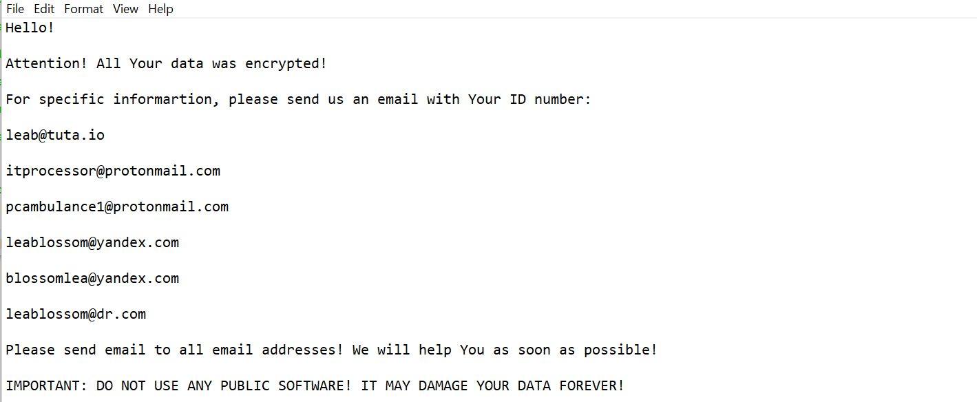Image: Leab@tuta.io SYS Ransomware