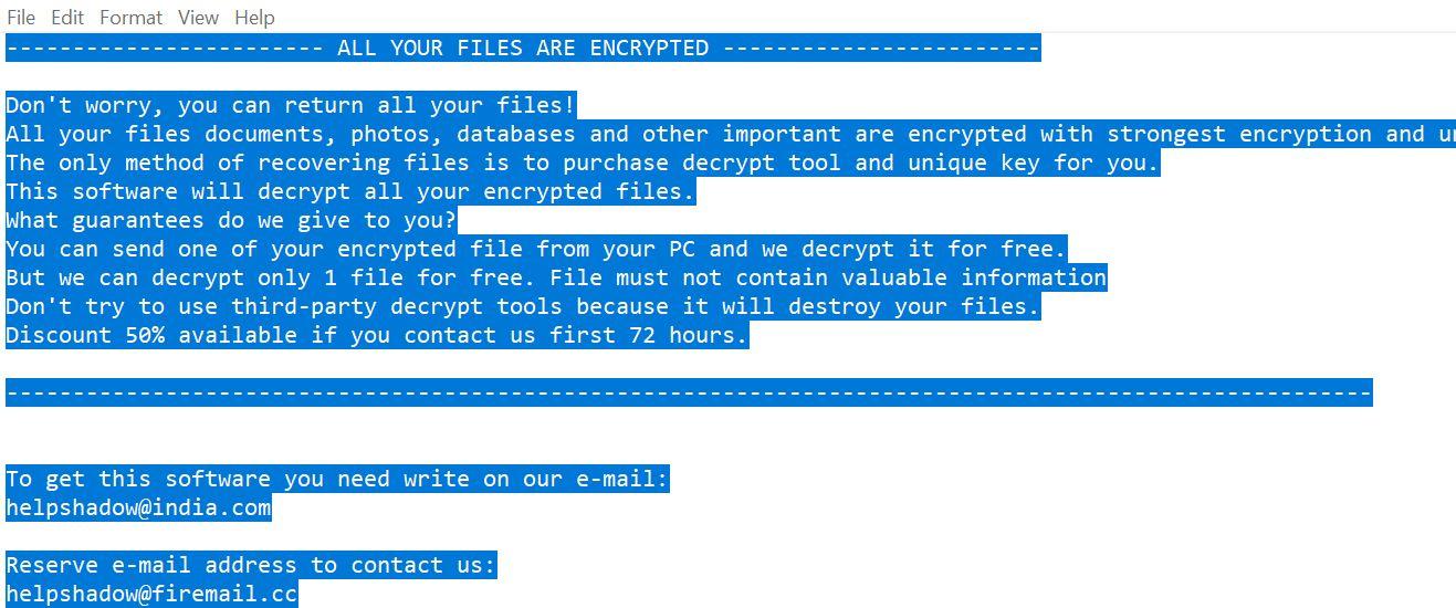 helpshadow@india.com Djvu ransomware Virus