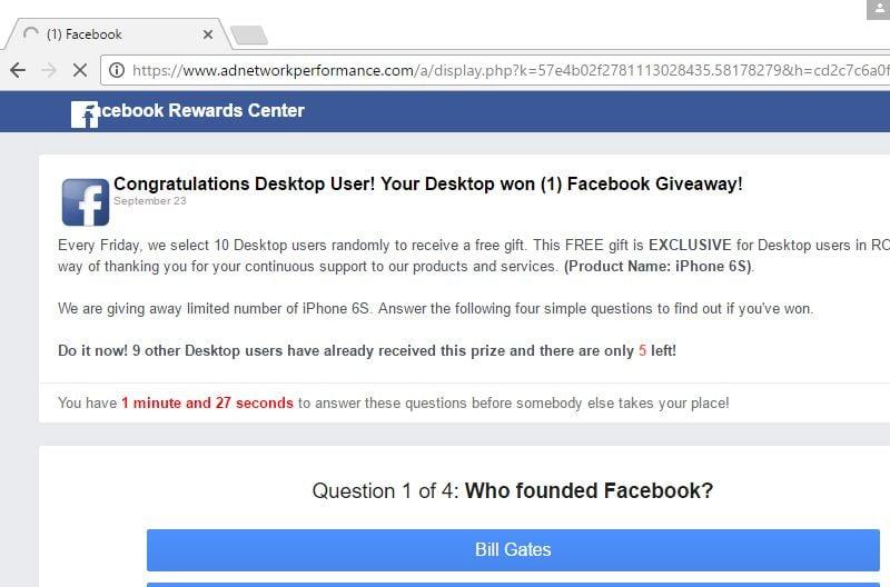 Facebook Free Spins pop-up scam