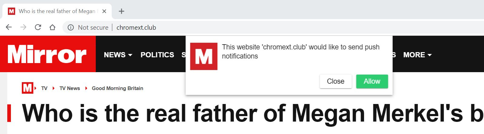 Image: Chrome browser is redirected to the Chromext.club site