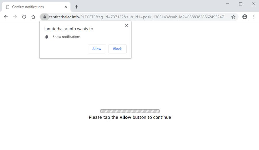 Image: Chrome browser is redirected to the Tantiterhalac.info site