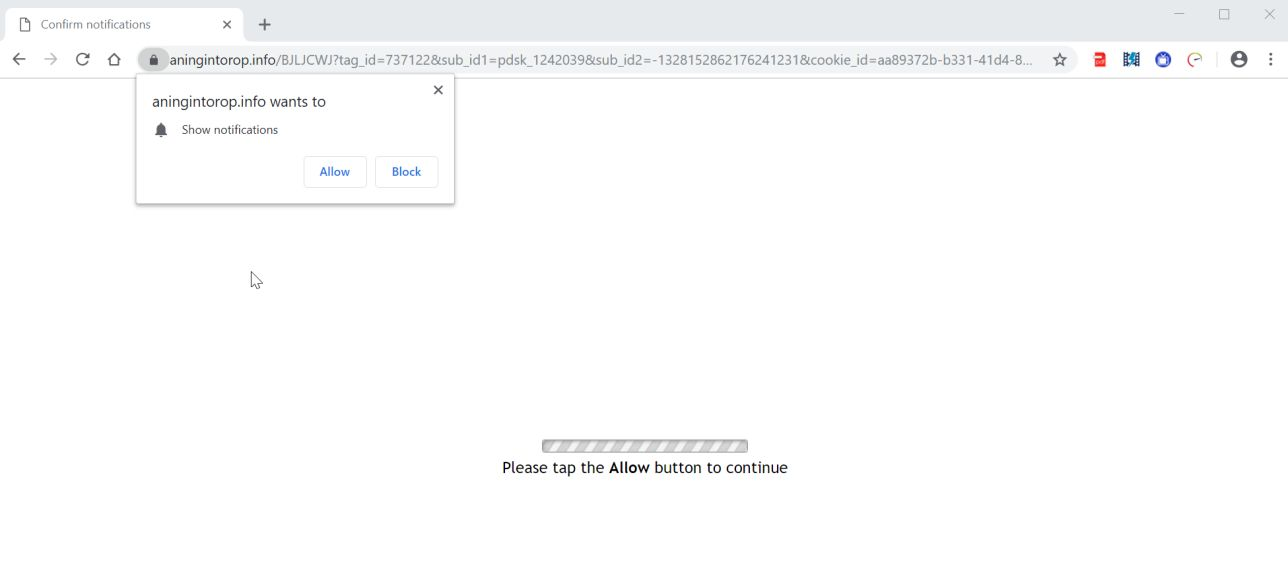Image: Chrome browser is redirected to the Aningintorop.info site