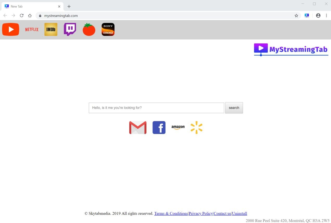 Image: Google Chrome is redirected to the MyStreamingTab New Tab