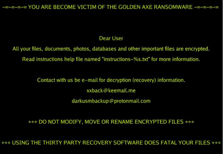 Image: Golden Axe ransomware