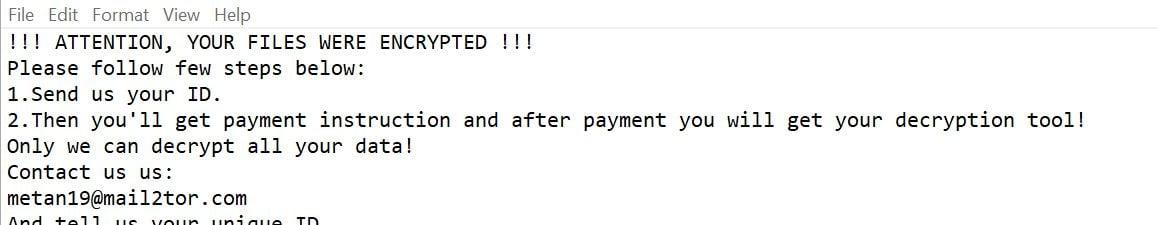 Image: Metan ransom note