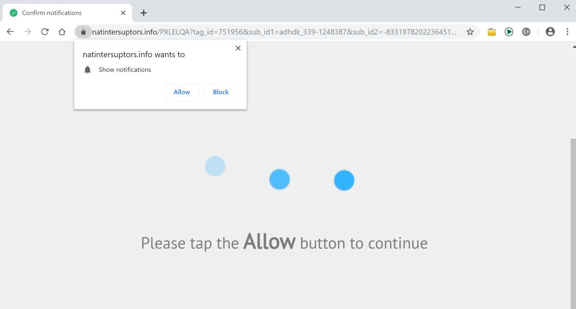 Image: Chrome browser is redirected to the Natintersuptors.info site