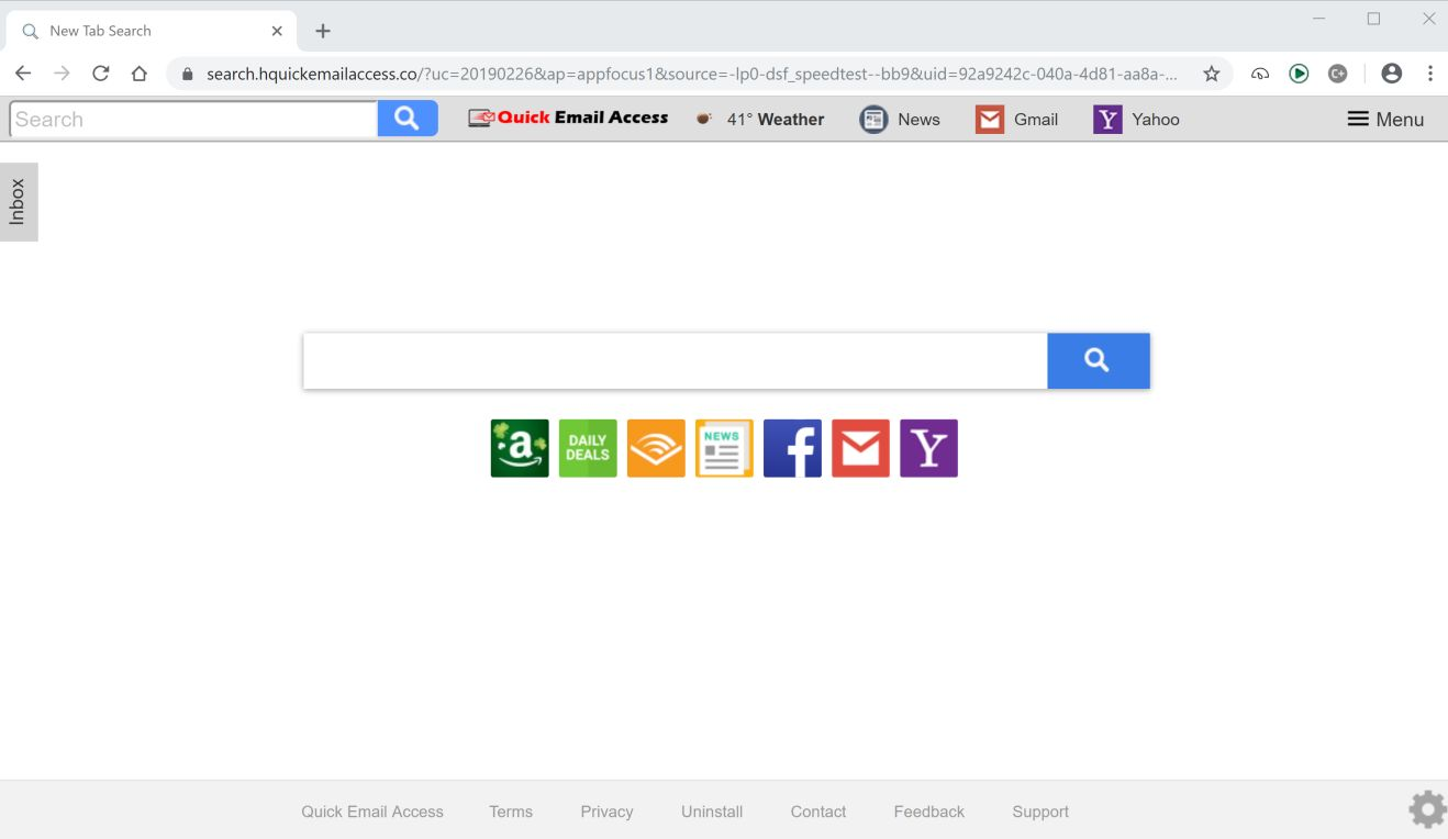 Image: Chrome browser is redirected to the search.hquickemailaccess.co site