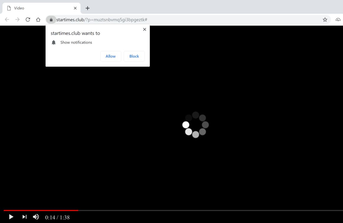 Image: Chrome browser is redirected to the Startimes.club site