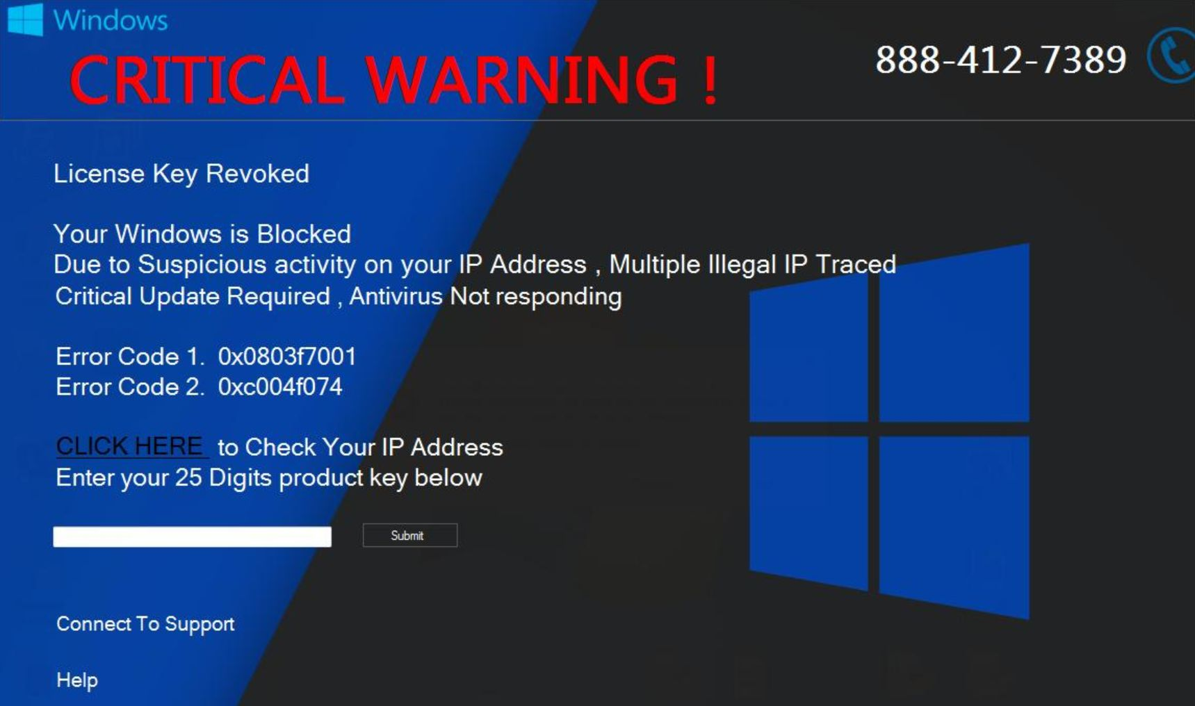 Image: CRITICAL WARNING! - Tech Support Scam