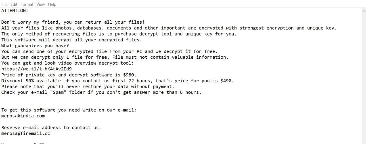 Remove Merosa@india com Refols ransomware (Virus Removal Guide)