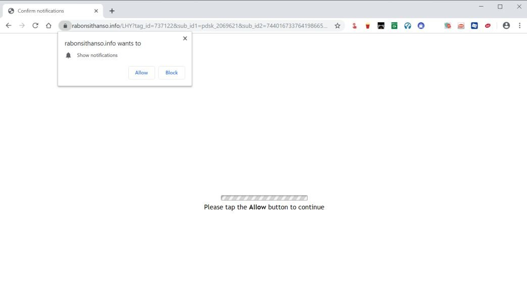 Image: Chrome browser is redirected to the Rabonsithanso.info site