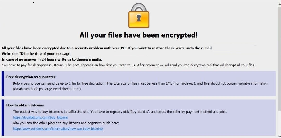 Image: Dharma Ransomware / [carcinoma24@aol.com].carcn extension