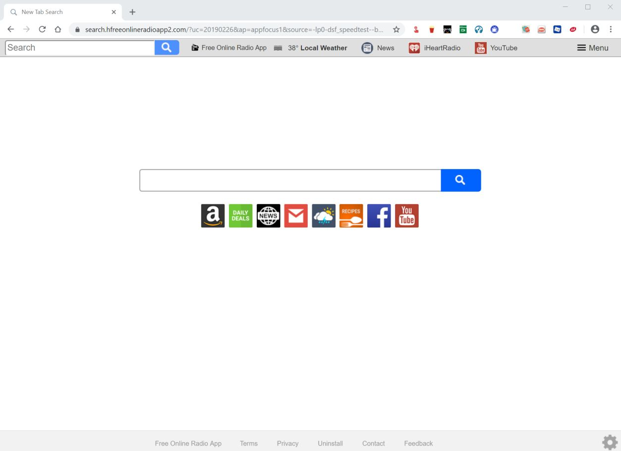 Image: Chrome browser is redirected to the search.hfreeonlineradioapp2.com site