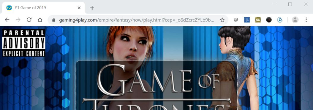 Image: Chrome browser is redirected to Gaming4play.com