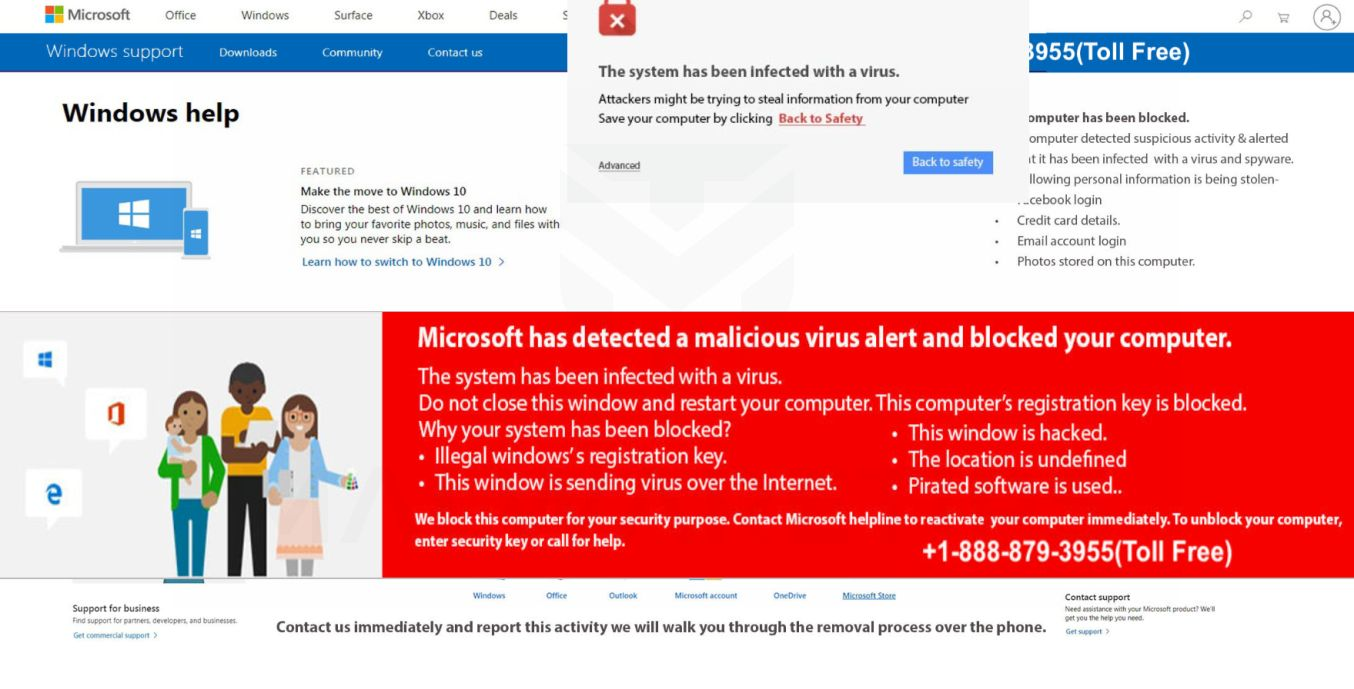 Image: Microsoft has detected a malicious virus alert and blocked your computer - Tech Support Scam