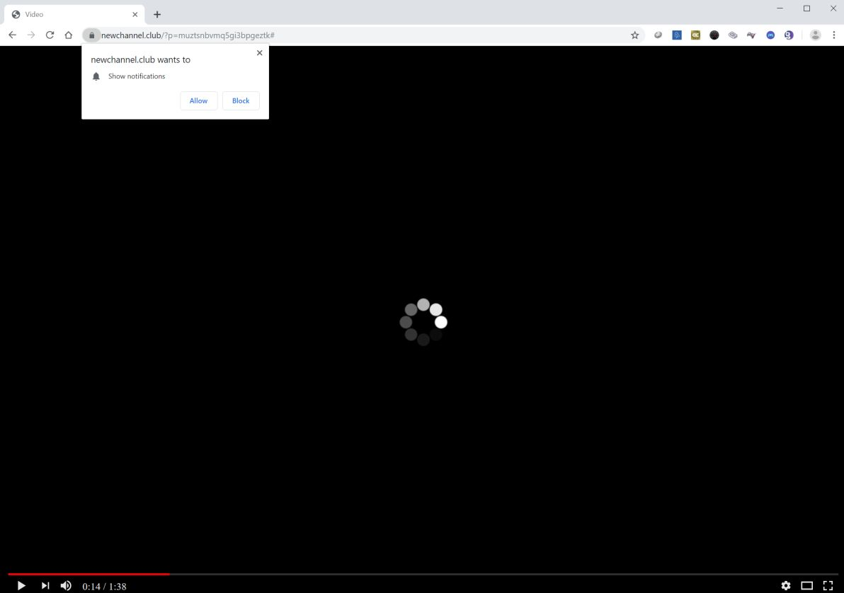 Image: Chrome browser is redirected to Newchannel.club