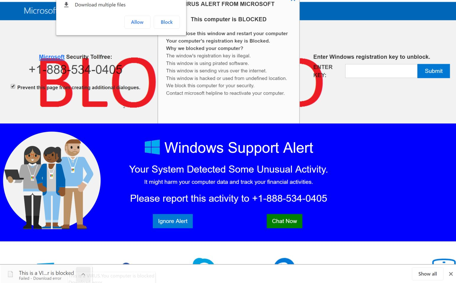 Image: This is a VIRUS. Your computer is blocked - Tech Support Scam