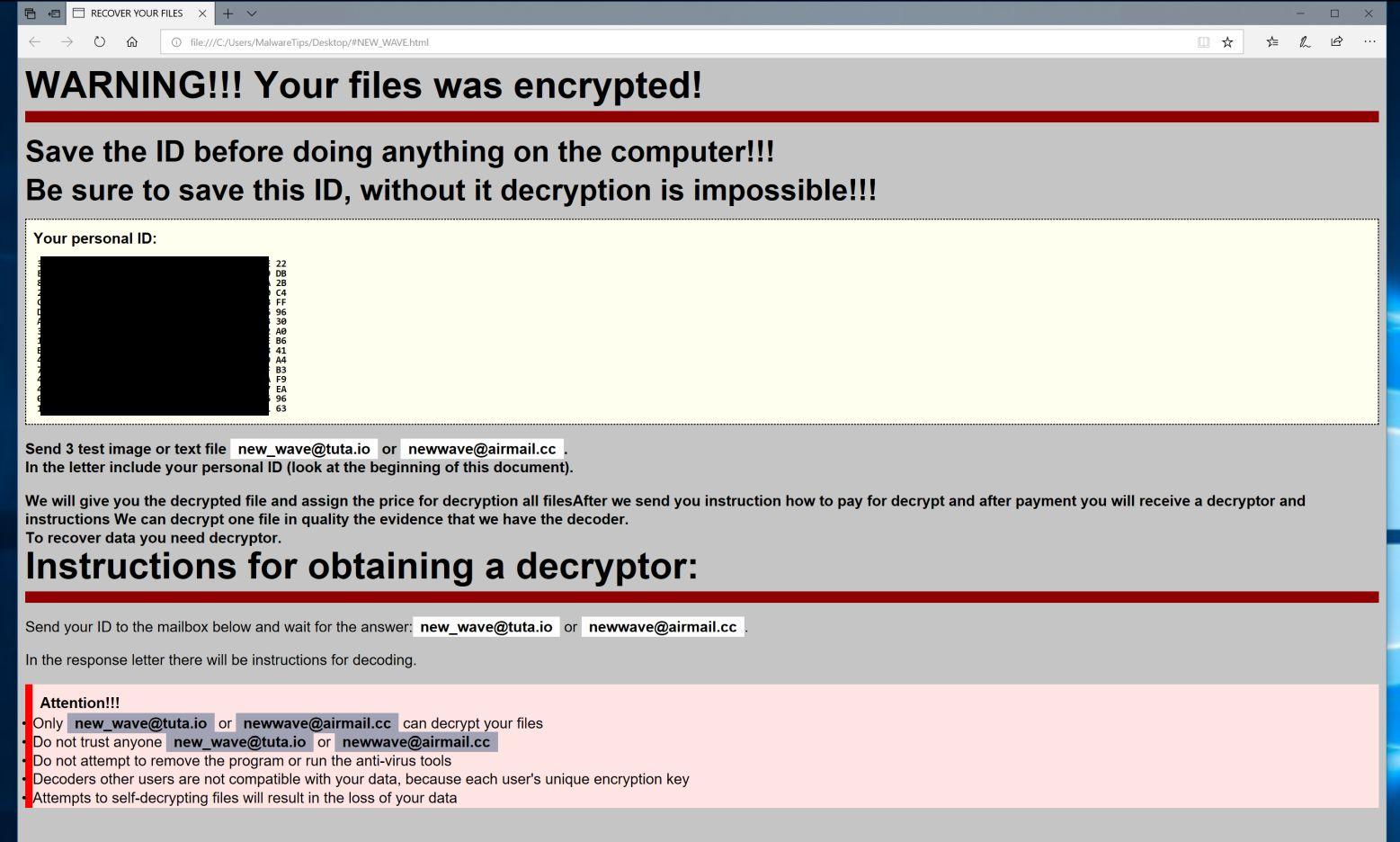 Remove [New_wave@tuta io] LotR ransomware (Virus Removal Guide)