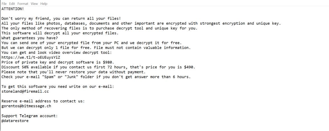 Image: Horon ransomware