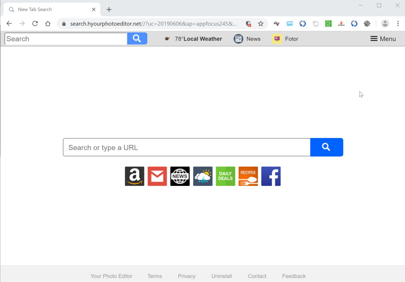 Image: Google Chrome is redirected to Your Photo Editor New Tab