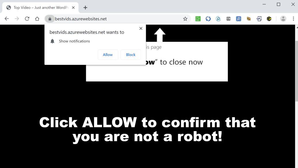 Image: Chrome browser is redirected to Bestvids.azurewebsites.net