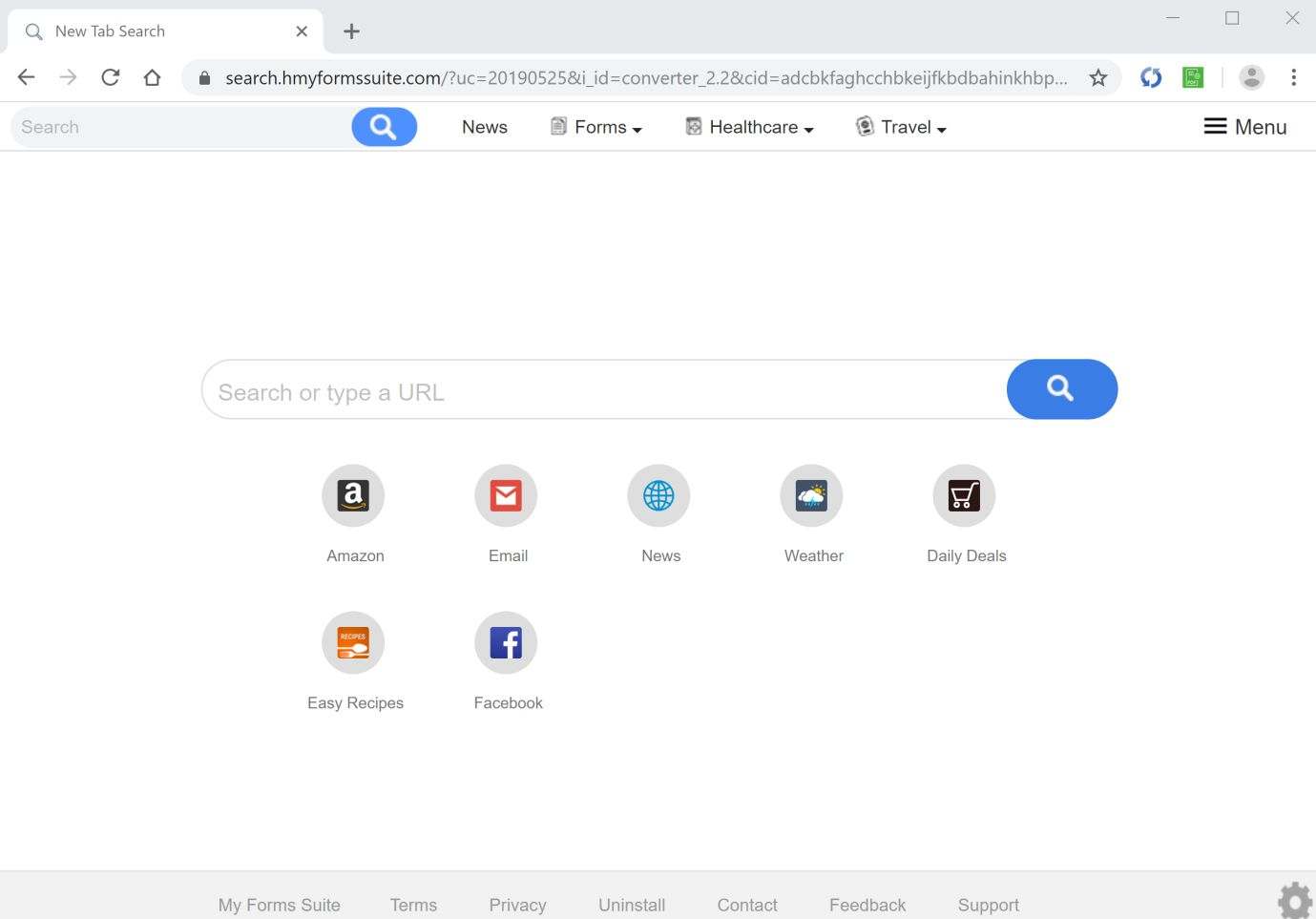 Image: Chrome browser is redirected to search.hmyformssuite.com