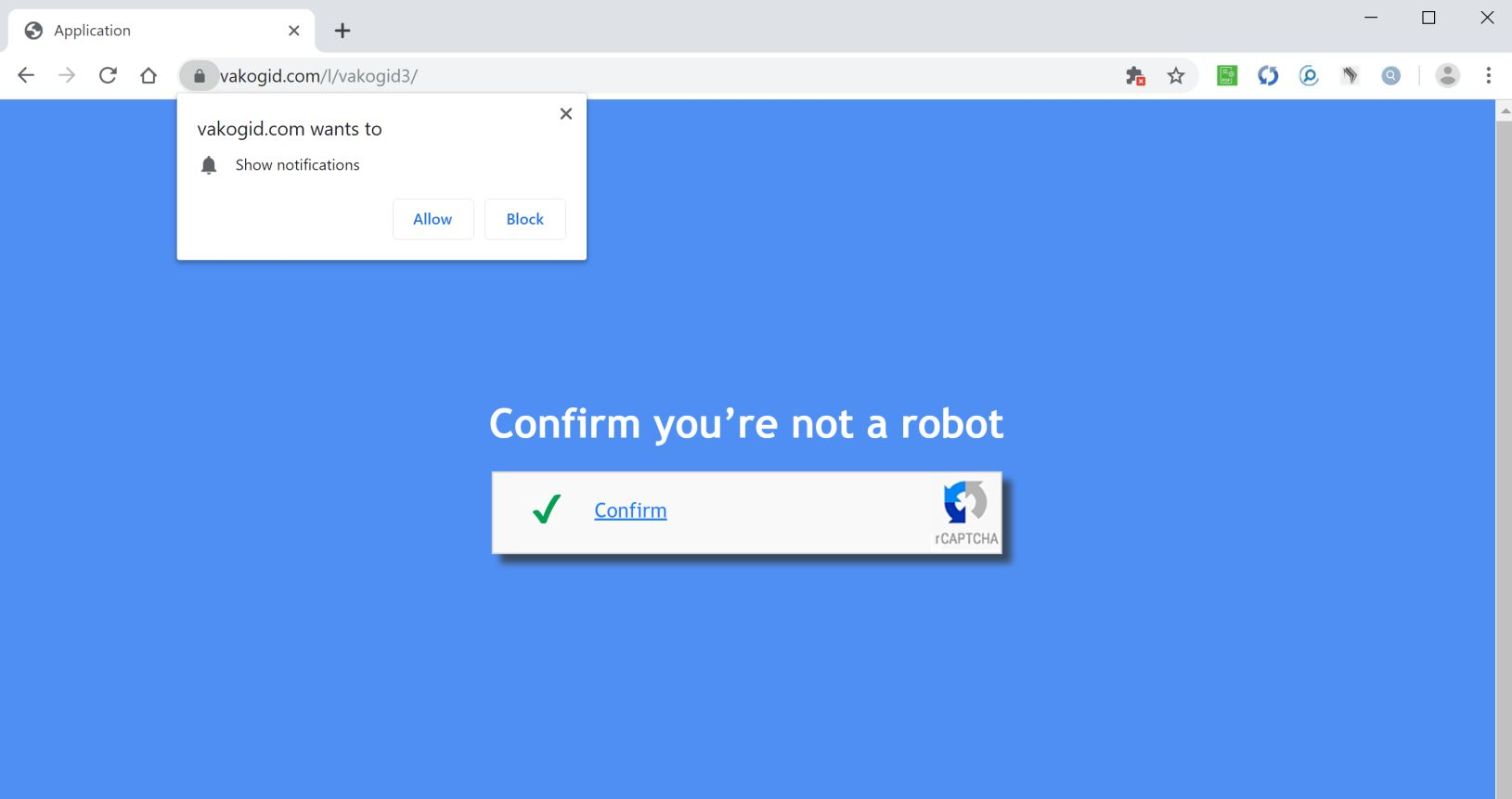 Image: Chrome browser is redirected to Vakogid.com