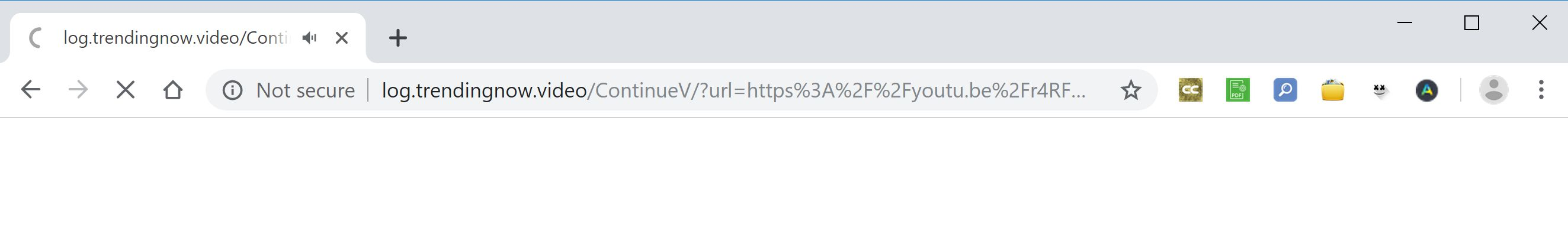 Image: Chrome browser is redirected to Log.trendingnow.video