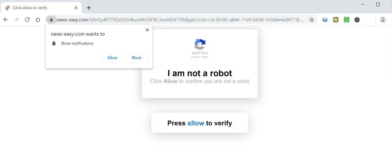 Image: Chrome browser is redirected to News-easy.com