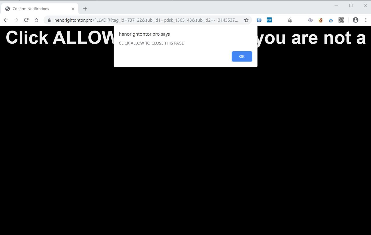 Image: Chrome browser is redirected to Henorightontor.pro