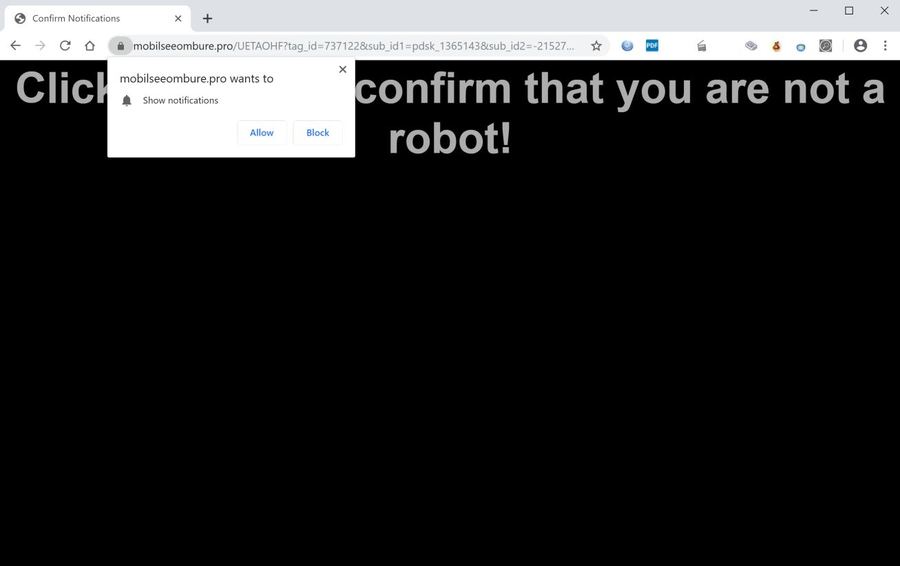 Image: Chrome browser is redirected to Mobilseeombure.pro
