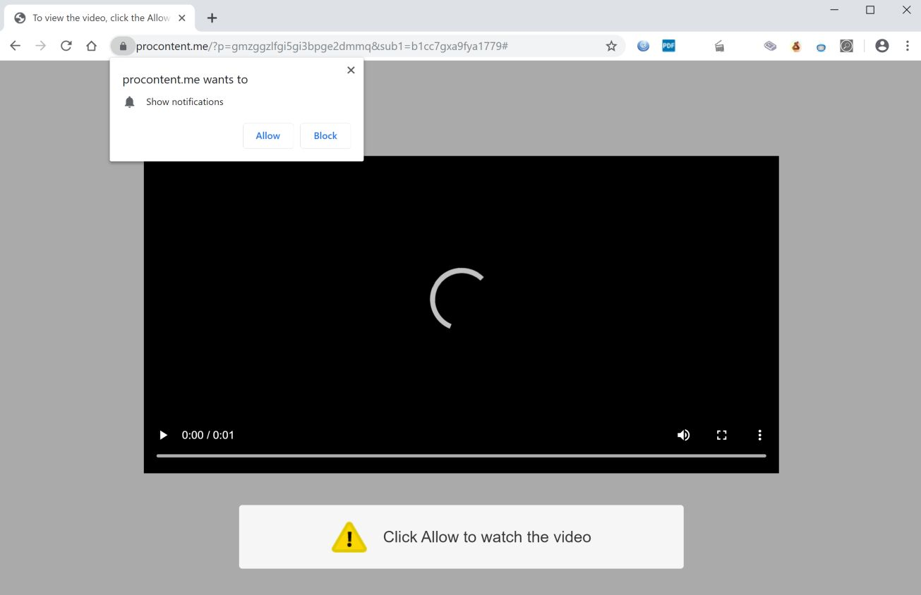 Image: Chrome browser is redirected to Procontent.me