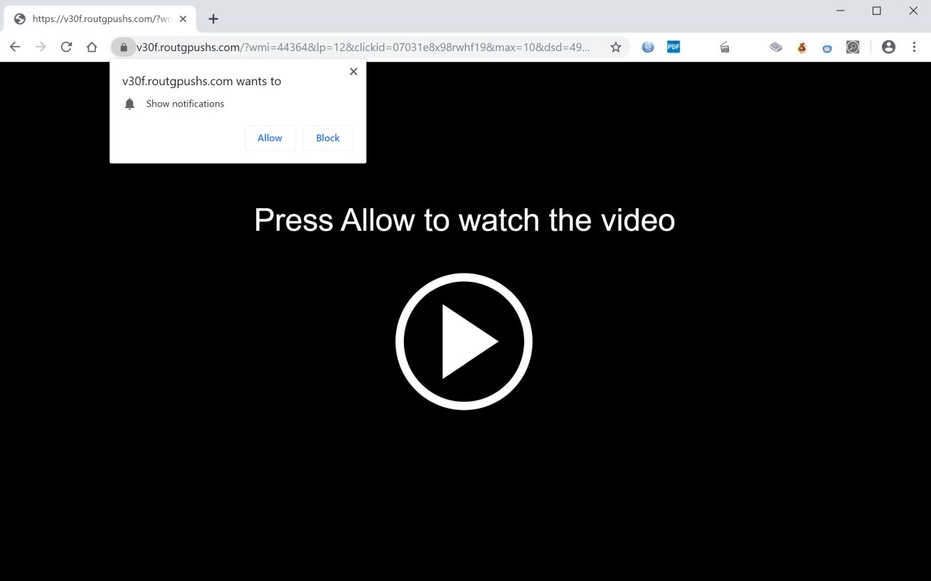 Image: Chrome browser is redirected to Routgpushs.com