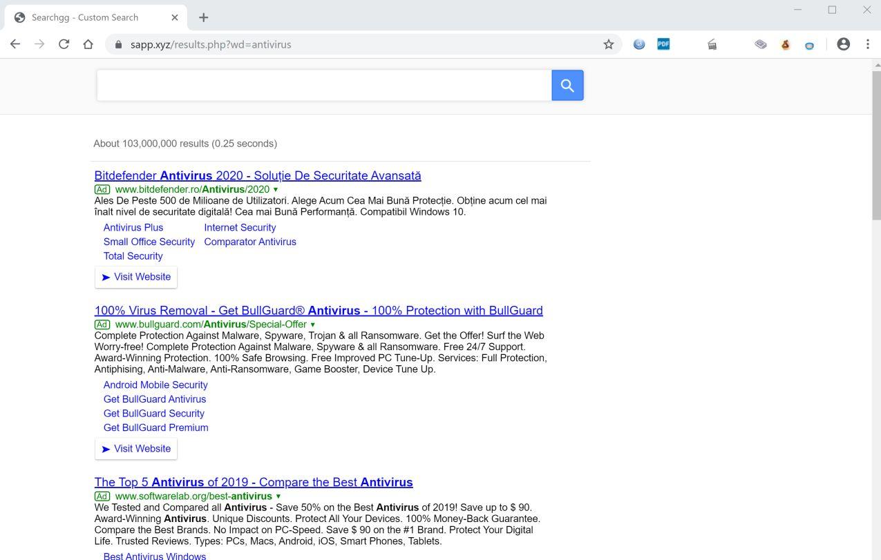Image: Google Chrome is redirected to Sapp.xyz