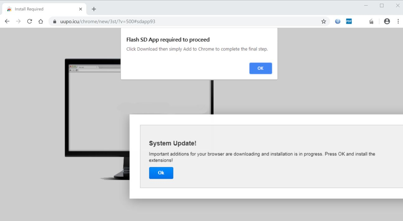 Image: Chrome browser is redirected to Uupo.icu