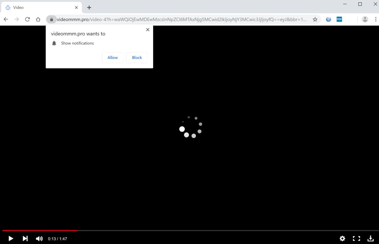 Image: Chrome browser is redirected to Videommm.pro