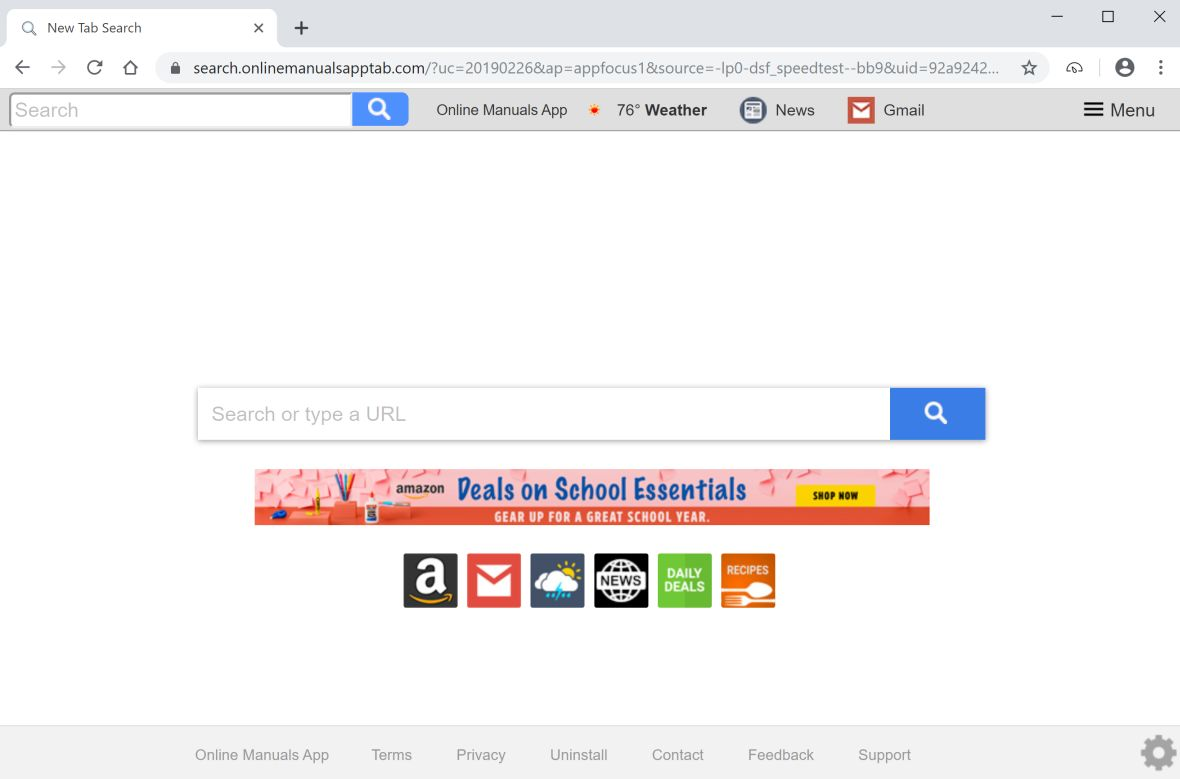 Image Google Chrome is redirected to Online Manuals App New Tab