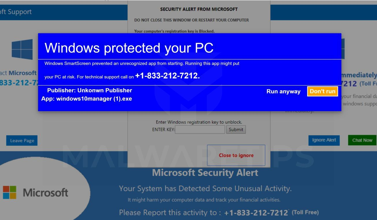 Image: VIRAL ALARM OF MICROSOFT - Tech Support Scam