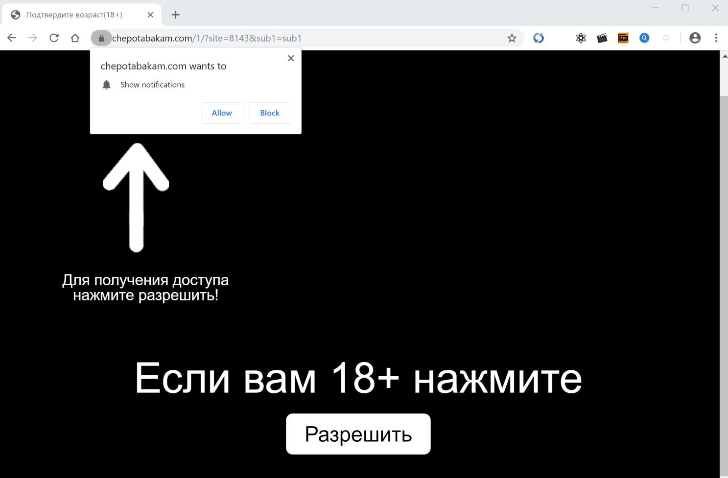 Image: Chrome browser is redirected to Chepotabakam.com