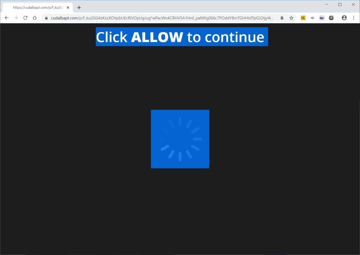 Image: Chrome browser is redirected to Cudalbapt.com