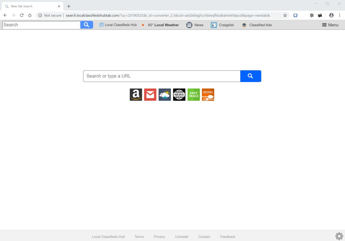 Image: Chrome browser is redirected to search.localclassifiedshubtab.com