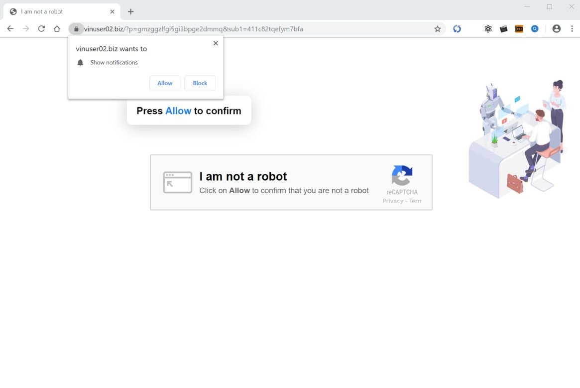 Image: Chrome browser is redirected to Vinuser02.biz