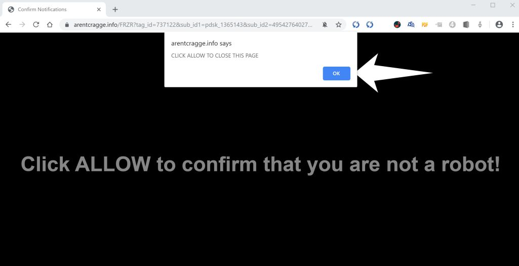 Image: Chrome browser is redirected to Arentcragge.info