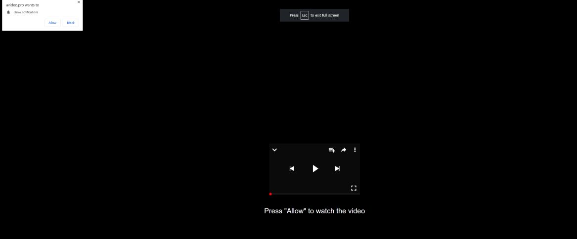 Image: Chrome browser is redirected to Avideo.pro