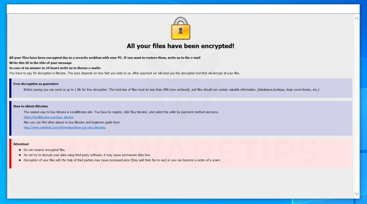 Image: [cryptocash@aol.com].CASH ransomware
