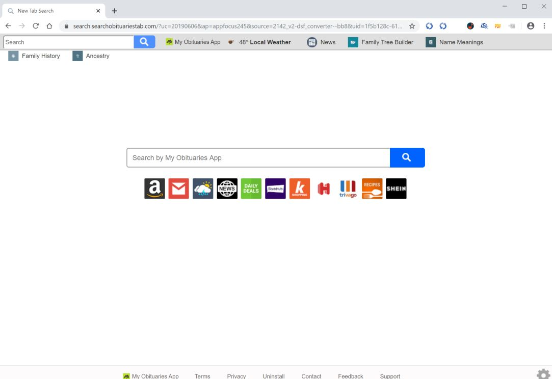 Image: Chrome browser is redirected to search.searchobituariestab.com