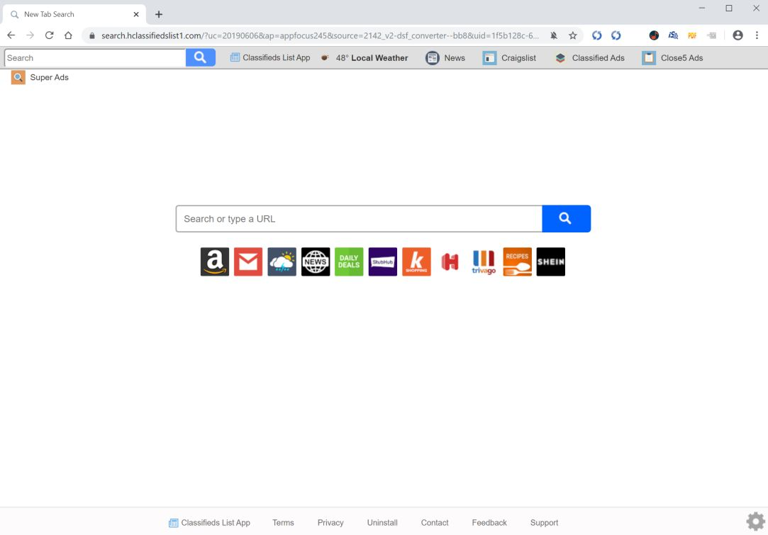 Image: Chrome browser is redirected to search.hclassifiedslist1.com